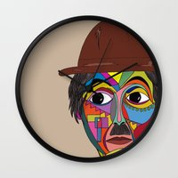 charlie chaplin Wall Clocks featuring Charlie Chaplin by JeeArt