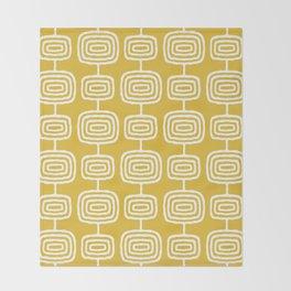 Mid Century Modern Atomic Rings Pattern Mustard Yellow Throw Blanket