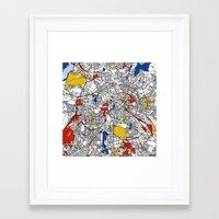 berlin Framed Art Prints featuring Berlin  by Mondrian Maps
