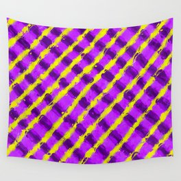 line pattern painting abstract background in purple and yellow Wall Tapestry