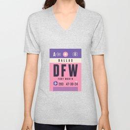 Baggage Tag A - DFW Dallas Fort Worth Unisex V-Neck
