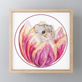Mouse in Tulip Framed Mini Art Print