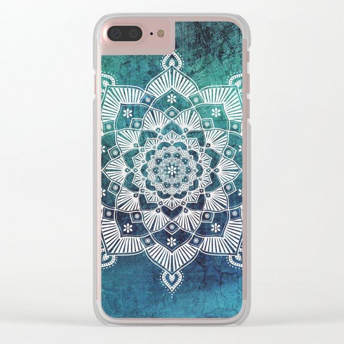 Aqua Spirit Mandala Turquoise Blue Green White Clear iPhone Case
