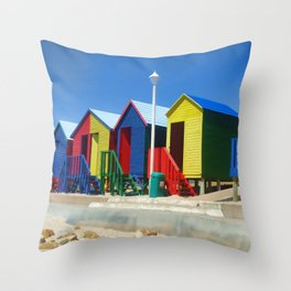 Beach houses at Muizenburg Throw Pillow