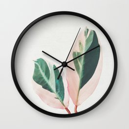 Pink Leaves I Wall Clock