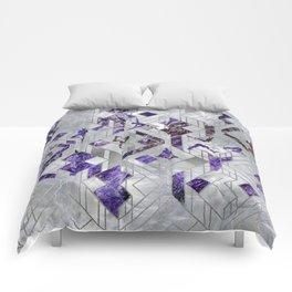 Yoga Asanas in Amethyst on geometric pattern Comforters