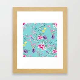 Chinoiserie Decorative Floral Motif Pale Turquoise Framed Art Print