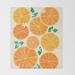 Orange Slices With Blossoms Throw Blanket