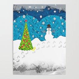 Snowman Heart Poster