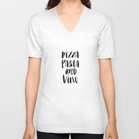 pasta V-neck T-shirts featuring Pizza Pasta and Vino Watercolor Black and White Typography Print by The Motivated Type