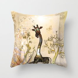 Funny steampunk giraffe, clocks and gears Throw Pillow