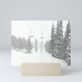 Empty Chairlift // Alone on the Mountain at Copper Whiteout Conditions Foggy Snowfall Mini Art Print