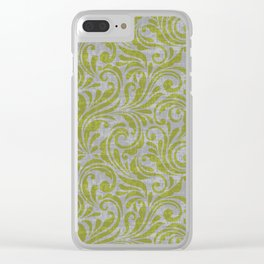 Leaf Scroll Green/Gray Clear iPhone Case
