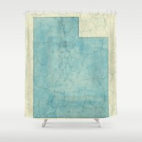 utah Shower Curtains featuring Utah State Map Blue Vintage by City Art Posters