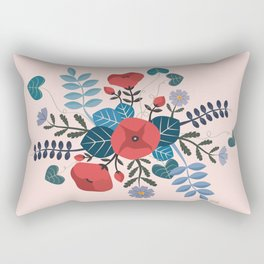 Botanical spring flowers, Poppies and Daisies Rectangular Pillow