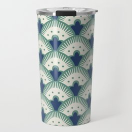 Fan Pattern Blue/Green Travel Mug