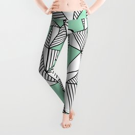 Abstraction Lines with Mint Blocks Leggings