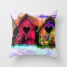 Baby Birdhouses Throw Pillow
