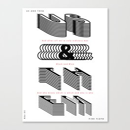 Us and Them - (Song Poster) Canvas Print