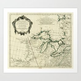 Map of the Great Lakes Region, North America (1784) Art Print