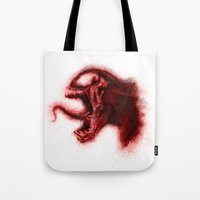 carnage Tote Bags featuring Carnage by KitschyPopShop