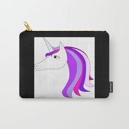Unicorn vector icon isolated on white. Head portrait. Cute magic cartoon fantasy animal. Long hair. Carry-All Pouch
