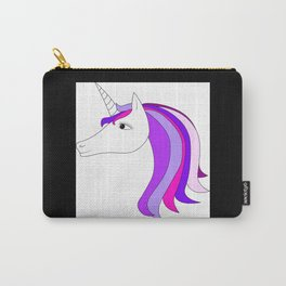 Unicorn vector icon isolated on white. Head portrait. Cute magic cartoon fantasy animal. Long hair. Carry-All Pouch