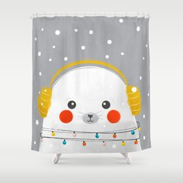 Christmas Baby Seal Shower Curtain