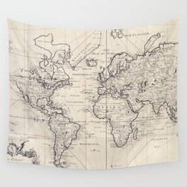 Vintage Map of The World (1750) Wall Tapestry