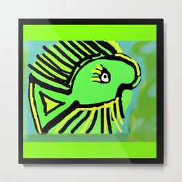 Beauty in the Green & Yellow Fish 2 Metal Print