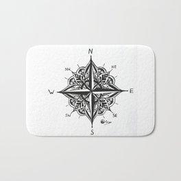 """Mandala Compass Rose"" Original Directional Compass Art Bath Mat"