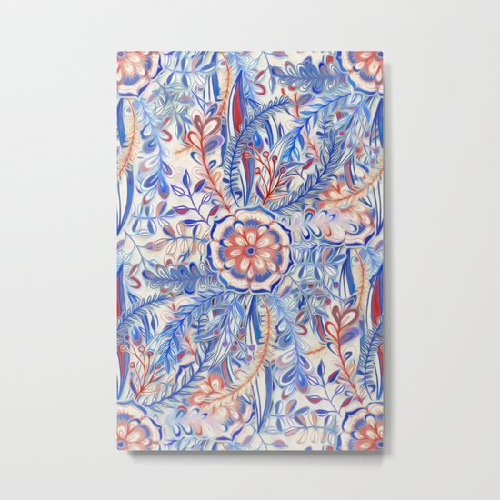 Boho Flower Burst in Red and Blue Metal Print