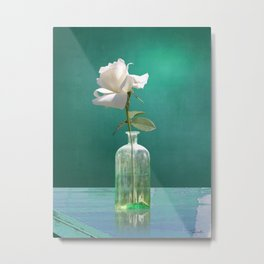 One White Rose Metal Print