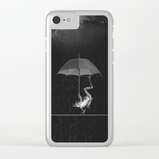 Funny Frog Dance In the Rain Clear iPhone Case
