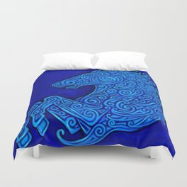 Blue Celtic Horse Abstract Spirals Duvet Cover