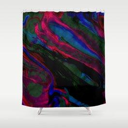 Dark Neon Marble Design Shower Curtain