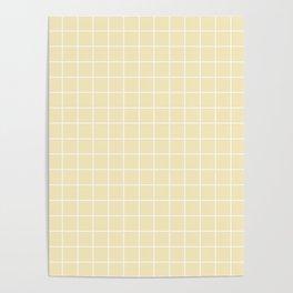 Lemon meringue - pink color - White Lines Grid Pattern Poster