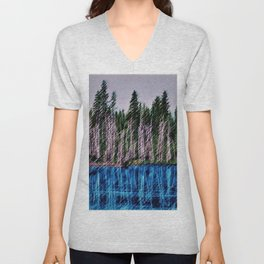 Church Pond White Mountains, New Hampshire Landscape Painting by Jeanpaul Ferro Unisex V-Neck