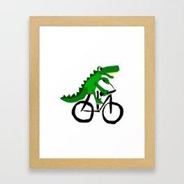 Funny Alligator Riding on Bicycle Original Artwork Framed Art Print