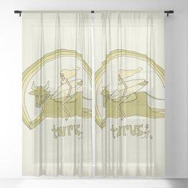 taurus zodiac // retro surf art by surfy birdy Sheer Curtain
