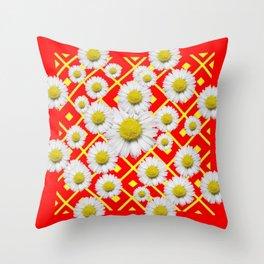 White-Yellow Shasta Daisies Red Pattern Art Throw Pillow