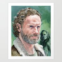rick grimes Art Prints featuring Rick Grimes by Mark Satchwill Art