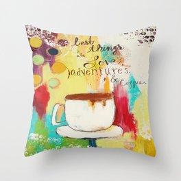 Love Adventures & Coffee Throw Pillow