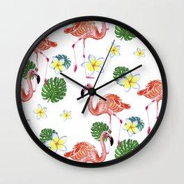 Patrones decorativos de flamencos y flores de acuarela Wall Clock