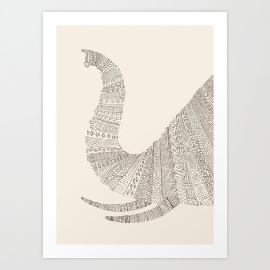 Elephant (On Beige) Art Print