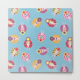 Floating in the Pool Pattern. Women on colorful floaties. Metal Print