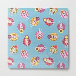 Floating in the Pool Pattern. Women on colorful floaties. Metal Print