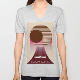 Europa Clipper Space Art poster. Unisex V-Neck