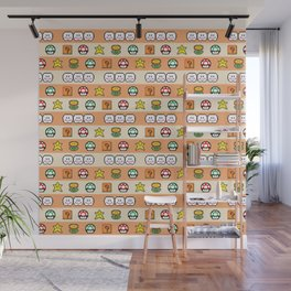 Pixel Game Retro (Orange) Wall Mural