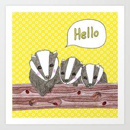Hello Badgers Art Print